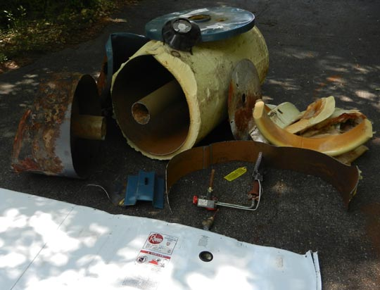 left over water heater parts